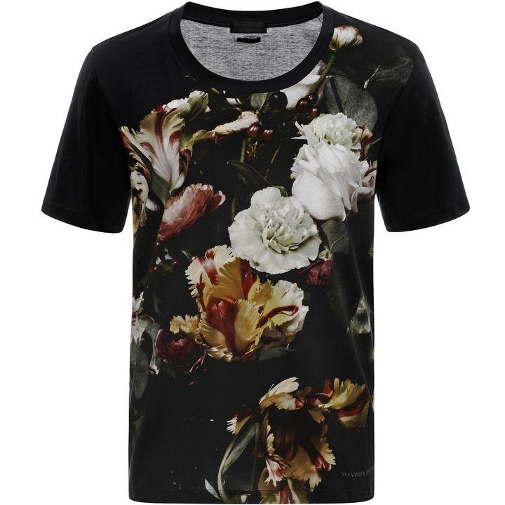 ALEXANDER MCQUEEN|T-Shirts|Victorian Floral Still Life Print T-Shirt