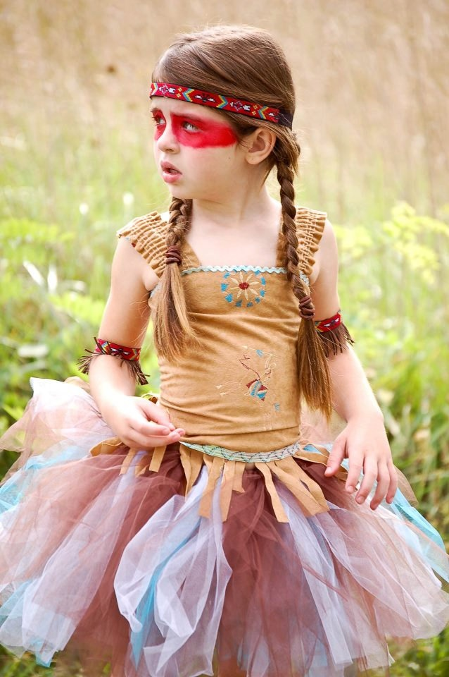 Indian Princess set. Polyester micro suede corset , tutu, arm bands, and headband.. $60.00, via Etsy.