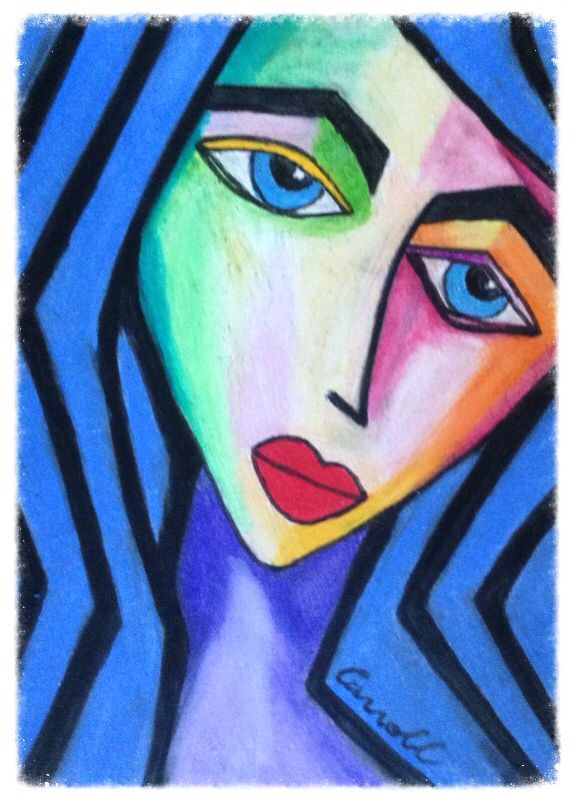 Semi abstract oil pastel and ink drawing, cubism
