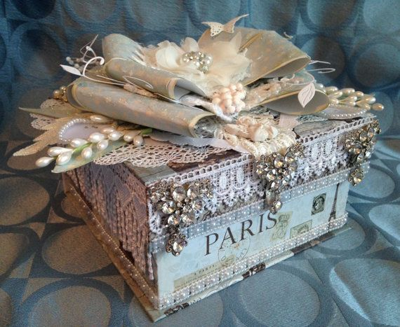 Shabby chic wedding box, bling box, custom box, storage box, anniversary box, gift box