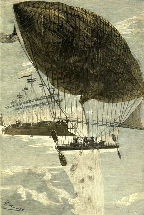 Exposition de maquettes du Centre International Jules Verne / Illustration : Robur le conquérant de Jules Verne par Léon Benett