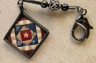 Me and My Stitches - scissor fob with Old Glory Gatherings fabrics by Lisa Bongean.