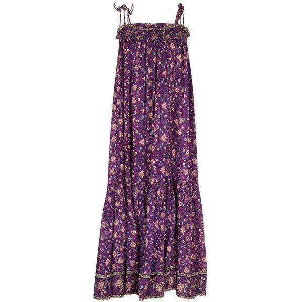 Ulla Johnson Indian Print Gauze Kerala Dress ($357) ❤ liked on Polyvore featuring dresses, dark floral, vintage print dress, dark purple dress, indian dresses, vintage summer dress and floral printed dress