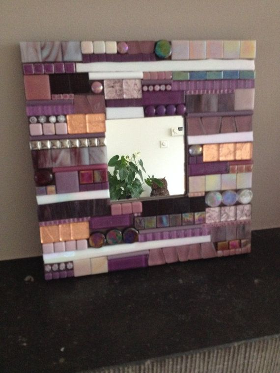 mozaiek spiegel purple lilac decoratieve door CapolavoriDiMosaico