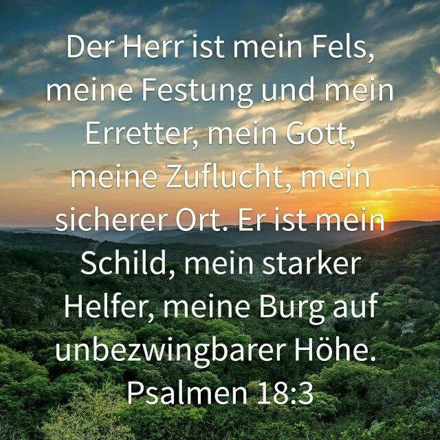 Der Herr ist mein Fels, meine Festung und mein Erretter, mein Gott, meine Zuflucht, mein sicherer Ort. Er ist mein Schild, mein starker Helfer, meine Burg auf unbezwingbarer Höhe. (Psalmen 18:39)