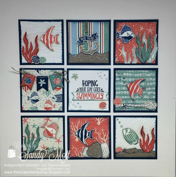 Stampin' Up! Seaside Shore Sampler and card. Created by Sandy Mott for the Creative Inking Blog Hop.