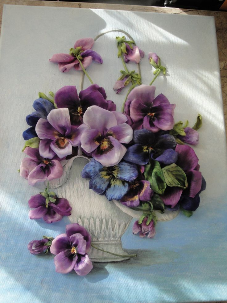 silk ribbon embroidery Pensy in vase by myflowersworld on Etsy
