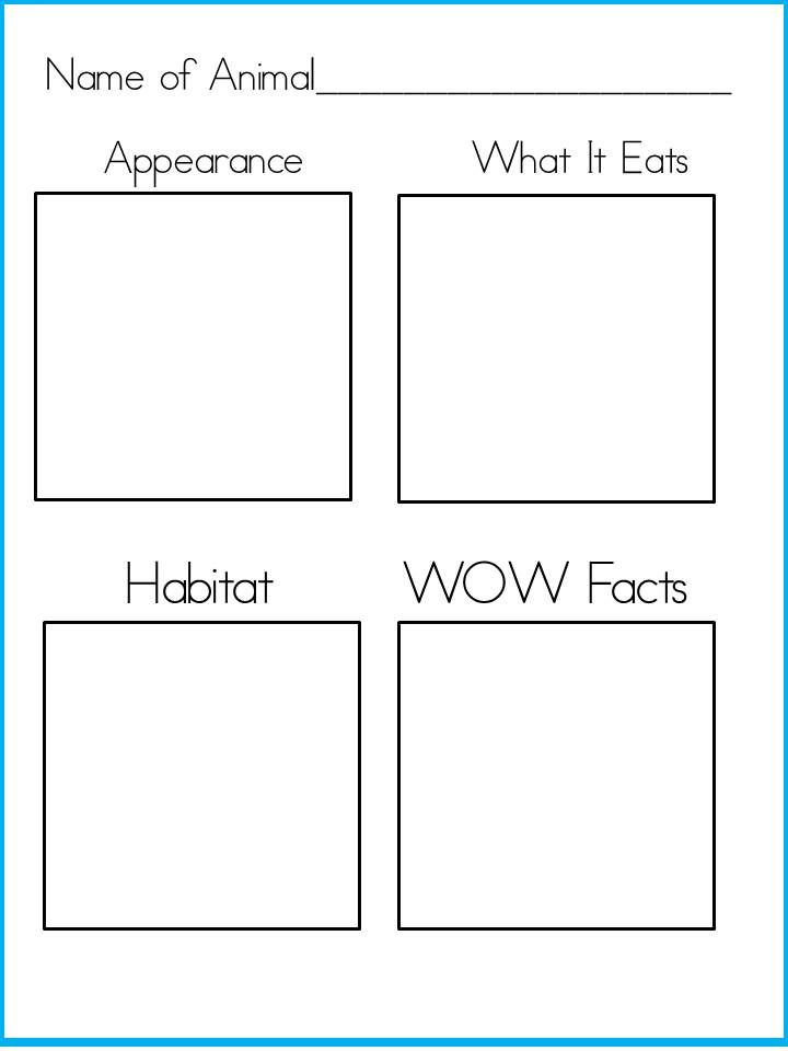 Free printable animal fact sheet.  Perfect for habitat unit.