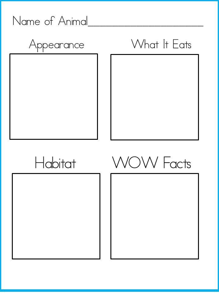 Free printable animal fact sheet.  Perfect for habitat unit.
