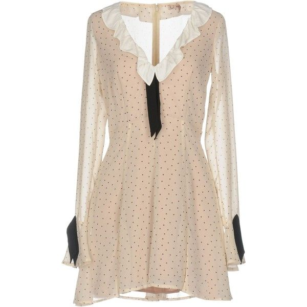 For Love & Lemons Short Dress ($344) ❤ liked on Polyvore featuring dresses, beige, pink polka dot dress, mini dress, short dresses, ruched dress and beige dress