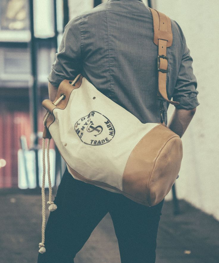 White Todd Snyder + Superior Labor Cinched Duffle Bag // Todd Snyder