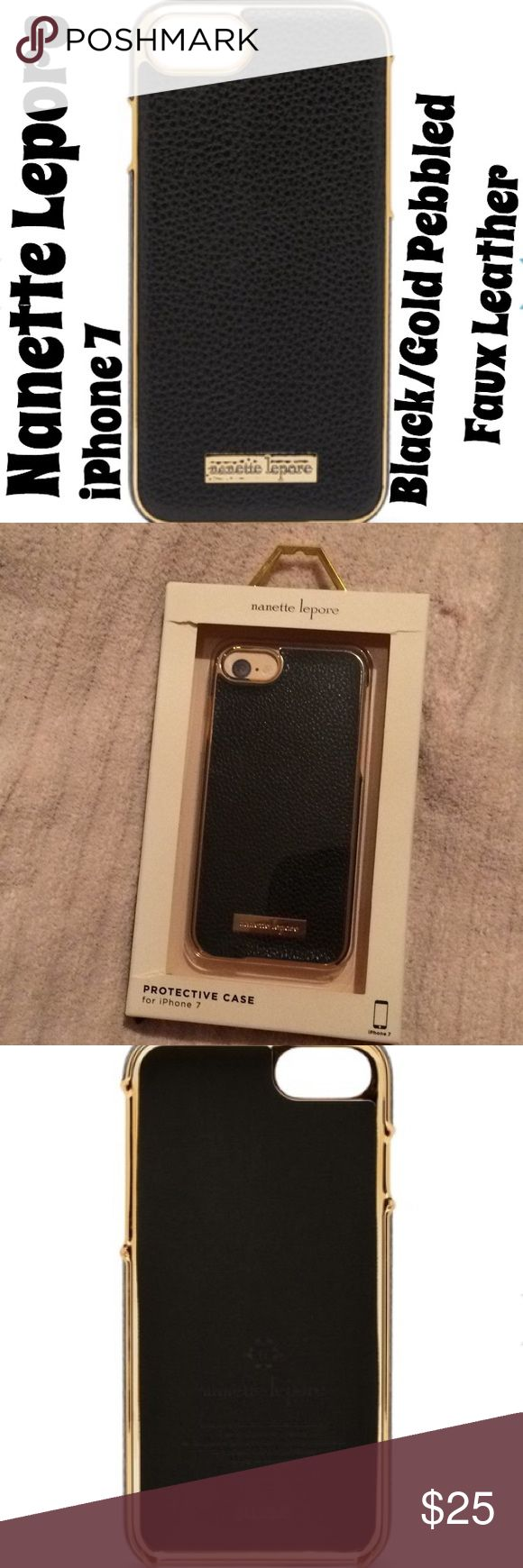iPhone 7: Black/Gold Pebbled Faux Leather Case Pebbled faux leather is accented by gold tone hardware. Nanette Lepore Accessories Phone Cases