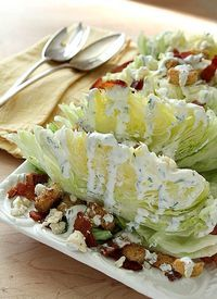 Iceberg Wedge Salad with Bacon, Croutons and Buttermilk Herb Dressing from @creativcuilinary