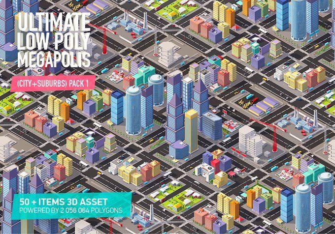 Low Poly Megapolis City Pack 1 by Anton Moek