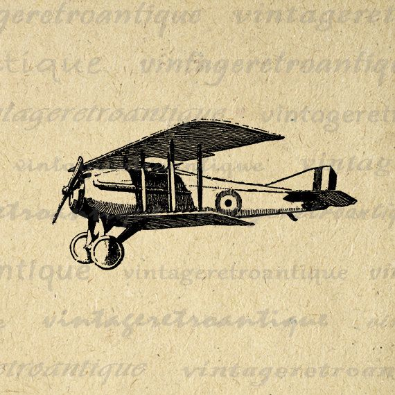 Classic Airplane Graphic Printable Download Antique Plane Image Digital. High quality, high resolution digital image download. This vintage printable digital illustration is great for making prints, fabric transfers, and more great uses. This digital graphic is large and high quality, size 8½ x 11 inches. Transparent background PNG version included.