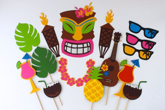 Aloha from Paper and Pancakes. We are falling into winter but you can still party like its HOT outside! Hawaiian Tiki Photo Booth Prop Collection by PAPERandPANCAKES