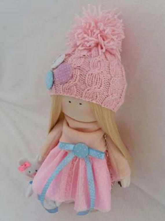 Muñeca rubia textil muñeca hecha a mano muñeca tela muñeca