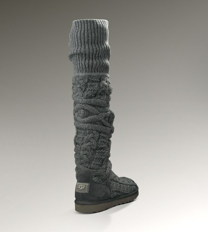 UGG Boots - Over Knee Twisted Cable - Grey - 3174