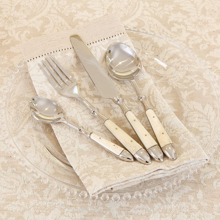Cream Bistro Cutlery - 1 Place Setting Stylish and slender cutlery for everyday use with stainless steel heads. Sold as one piece place setting comprising of dinner fork, dinner knife, table spoon and tea spoon