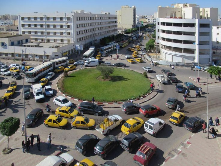 It's not hard to find a taxi at this traffic circle just outside the Kasbah of the old medina at Sfax, Tunisia.