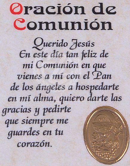 Paper Bookmark | First Communion | Oracion de Communion | Spanish | Girl - F.C. Ziegler Company