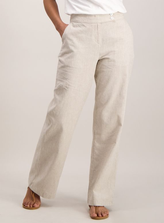 67ab6052f9d6bb Made with a linen blend, these stylish trousers are perfect for formal  occasions in the warmer months. Featuring a button fastening overlay, seam  detail on ...