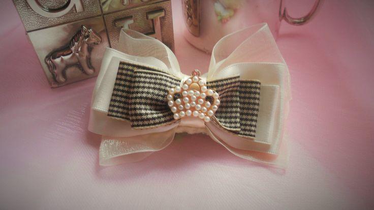Ivory/Brown Gingham Print Hair Bow -  Slider Bow for Slide on Flower Headband - Plastic Headband - Girls -  10 years and up - Free Shipping by MaPetiteDiva on Etsy