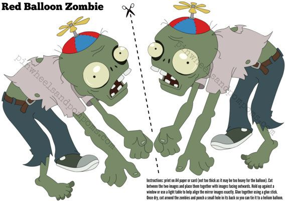 pvz party decoration floating zombie to attach to a red helium balloon. Black Bedroom Furniture Sets. Home Design Ideas