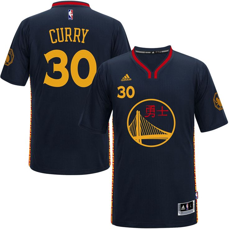 Men's Golden State Warriors Stephen Curry adidas Charcoal 2016 Chinese New Year Swingman Performance Jersey