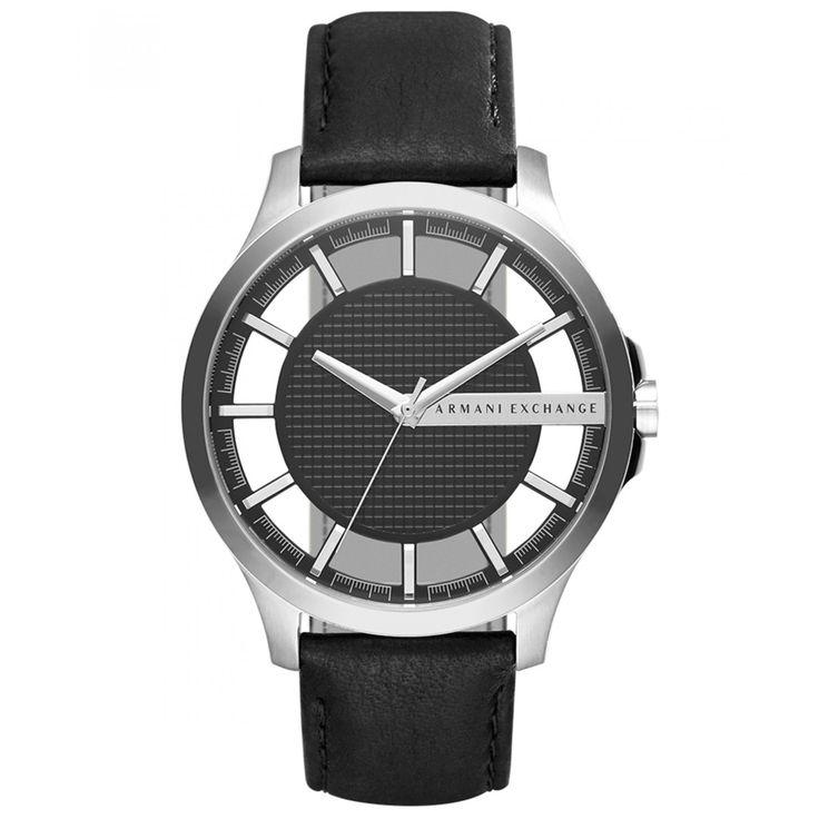 Reloj Armani Exchange con caja y bisel de acero inoxidable con acabado pulido extensible de correa en piel negra con textura granulada carátula con diseño de cuadros y ventanas translucidas.