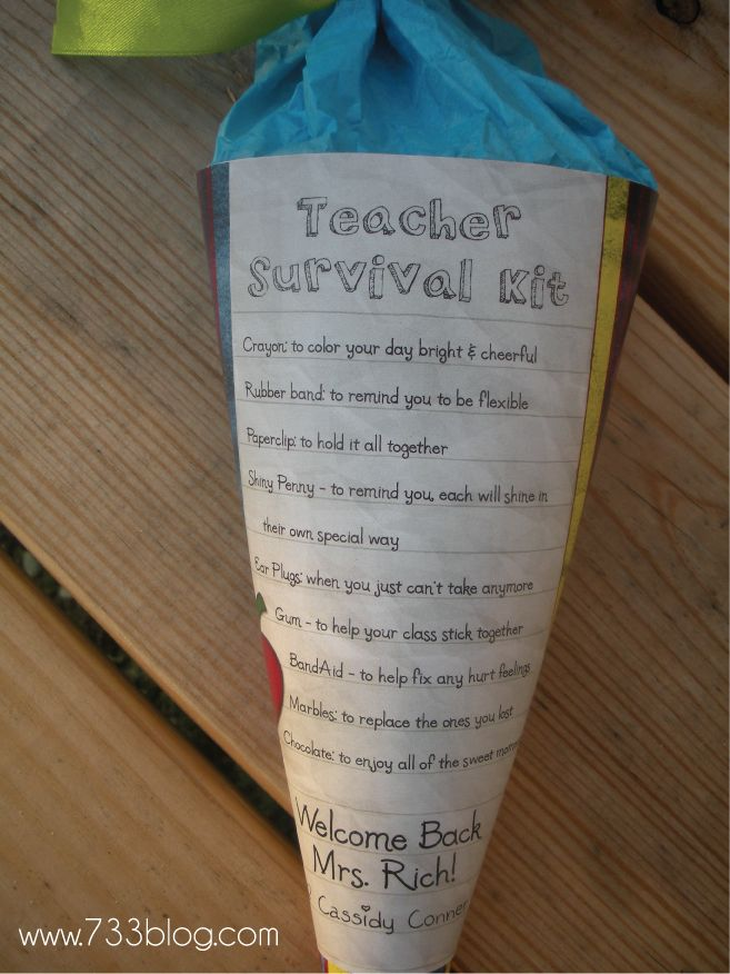 teacher survival kit - for first day of school