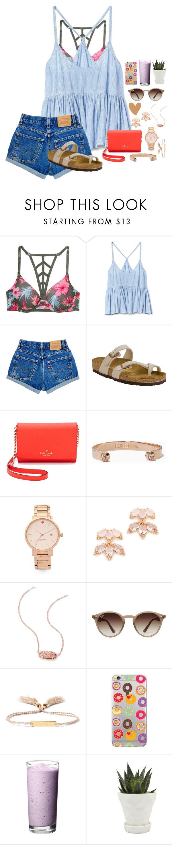 """~facetiming moo moo❤️~"" by taybug2147 ❤ liked on Polyvore featuring Victoria's Secret, Gap, Birkenstock, Kate Spade, Kendra Scott, Ray-Ban, Chloé and Chive"
