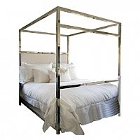polished nickel canopy bed w/ upholstered headboard- custom design by Storm Interiors