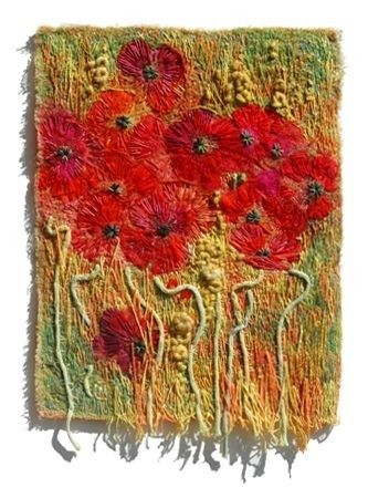 Fiber art.  Poppies embroidery.