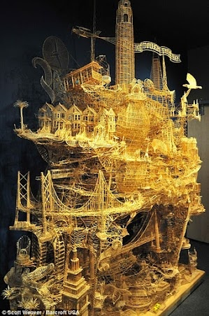 One man, 100,000 toothpicks, and 35 years: Amazing Kinetic Sculpture of San Francisco by Scott Weaver