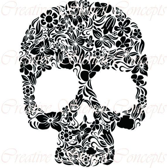 Floral Mexican Halloween Sugar Skull by CreativeStencils on Etsy