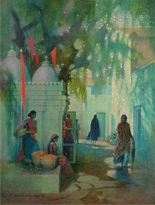 Indian Village Scene