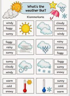"""Ideenreise: Klammerkarten zum Thema """"weather"""""""