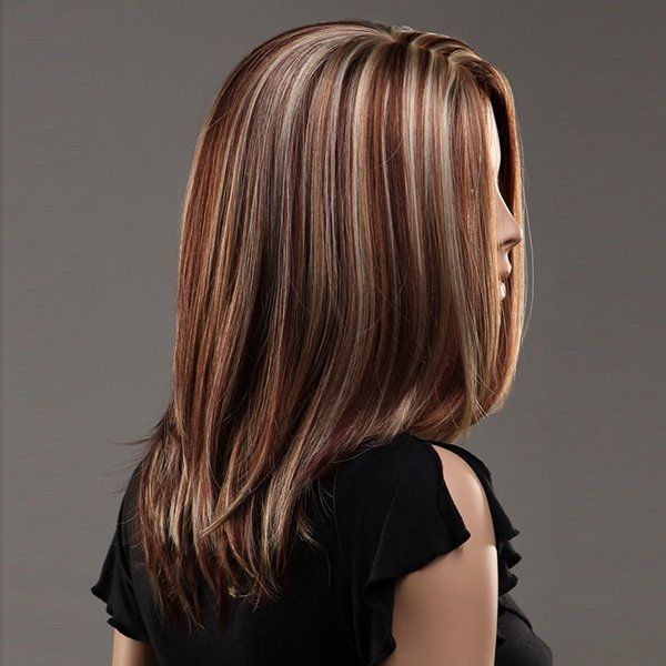 NAWOMI 100% Kanekalon Hair Wig Highlights Color Synthetic Parted Middle Medium L - US$25.69 - Banggood Mobile