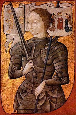 Joana D'Arc, Considerada uma heroína francesa (1412-1431),  comandou o exército real em várias batalhas ao longo do reinado de Carlos VII. O papa Bento XV nomeou-a santa em 1920. Foi condenada à morte por heresia.