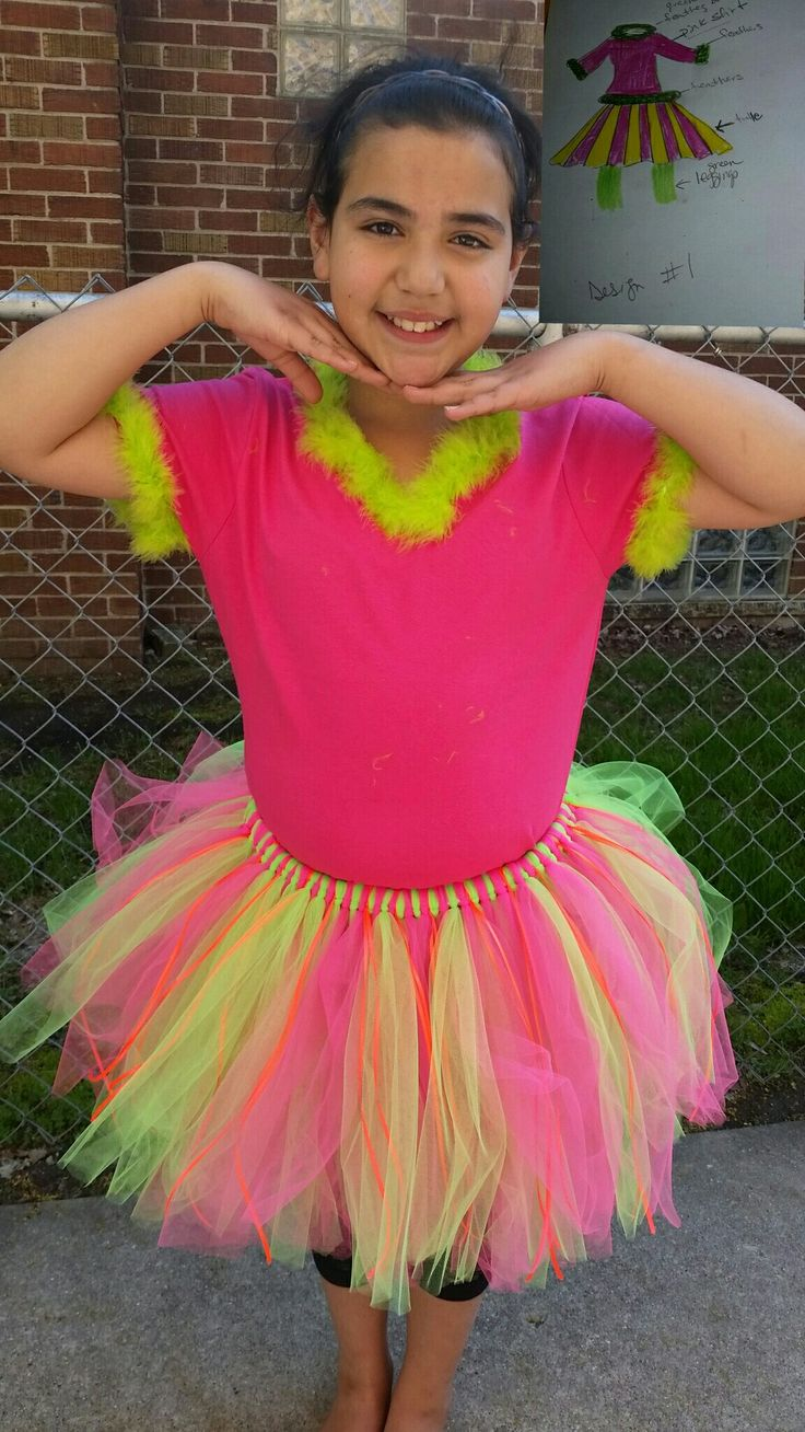 Whoville Costume Dr Seuss Feathered Shirt Bright Colors Tulle Skirt