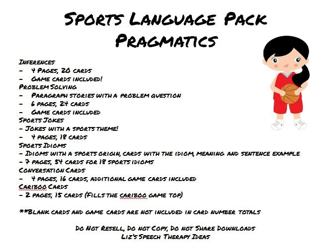 Liz's Speech Therapy Ideas: Sports Language Packets