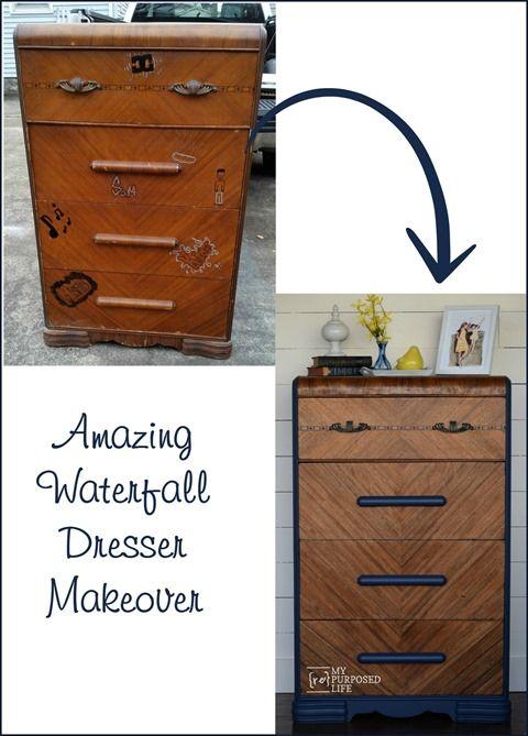 Amazing Waterfall Dresser Makeover | My Repurposed Life | Bloglovin'