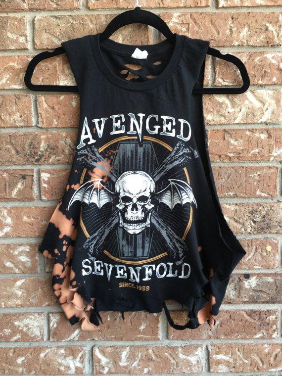 Cool Avenged Sevenfold, grunge  t shirt.....distressed, bleached band shirt