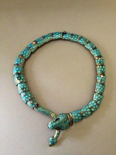 Vintage 1950's Margot de Taxco Sterling Silver Blue Enamel Snake Necklace