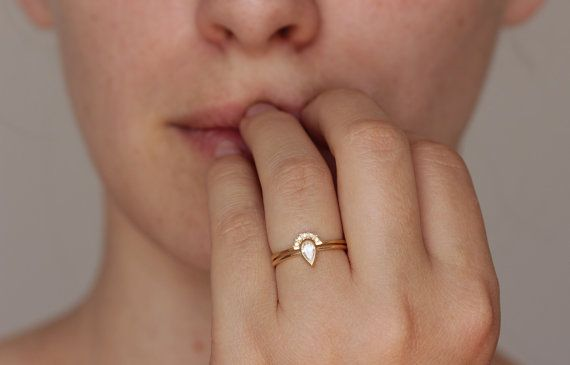 0.2 Carat Pear Diamond Engagement Ring with a Pave by artemer