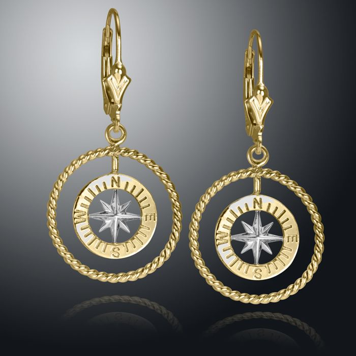 14K White and Yellow Gold Compass Rose Earrings