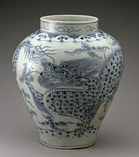 "Dragon Jar Made in Korea, Asia Joseon Dynasty (1392-1910), 18th century Artist/maker unknown, Korean Porcelain with underglaze cobalt blue decoration, ""Blue and White"" 16 1/8 x 14 7/8 inches (41 x 37.8 cm) Philadelphia Museum of Art"