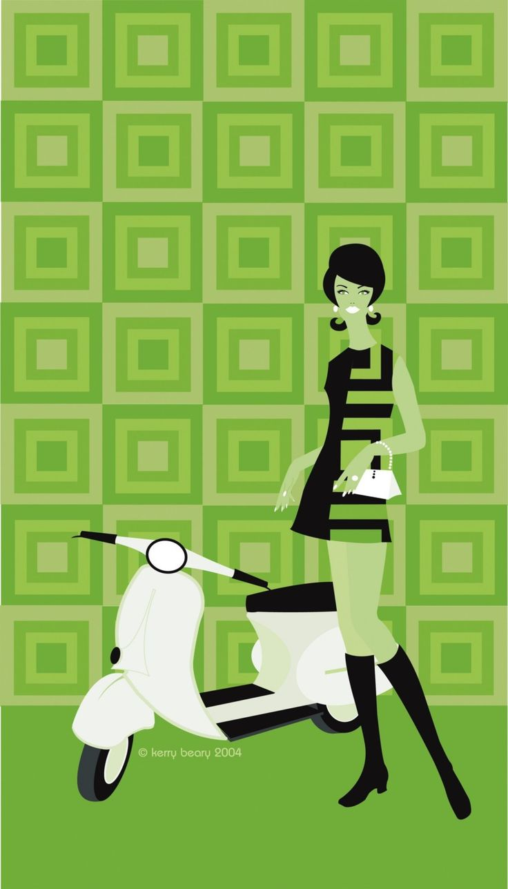 Vera Vespa - Retro Scooter Art Limited Edition Print by Kerry Beary. $58.00, via Etsy.