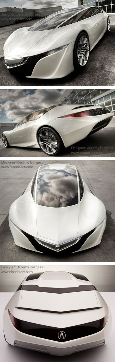 ♂ white concept car Concept car The Acura GSX concept is the work of Jeremy Burgess, a graduate of the Art Center College of Design. The GSX concept was the project he was given during his internship at Acura under the leadership of Jon Ikeda, head of design for Acura.